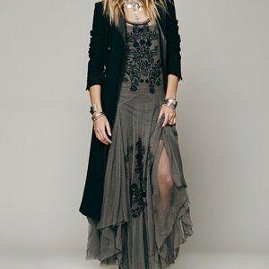 Free People Gray Darya Mesh Emroidered Maxi Dress